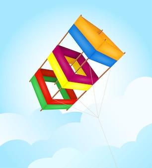흰색 배경에 고립 된 하늘 벡터 일러스트 레이 션에 비행 다채로운 연