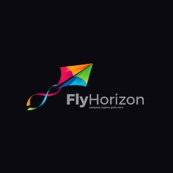 Colorful kite logo design template