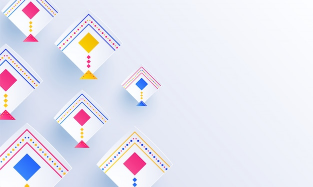 Colorful kites decorated on glossy white background