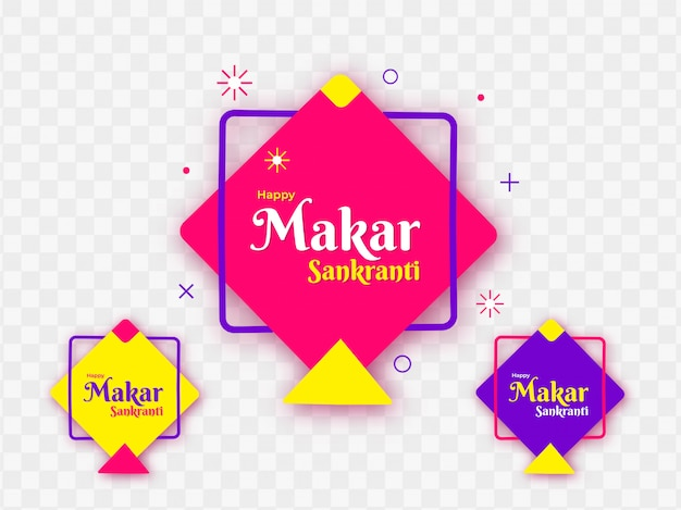 Colorful kites decorated on png background for happy makar sankr