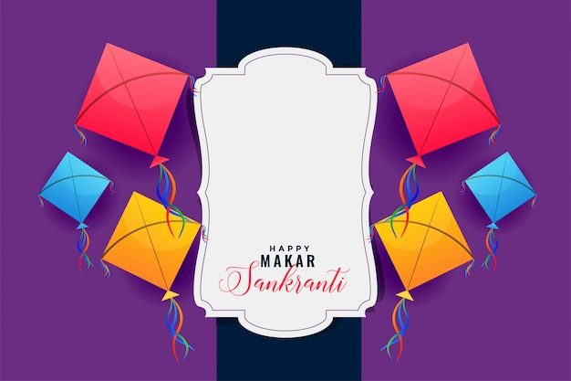 Colorful kites frame for makar sankranti festival