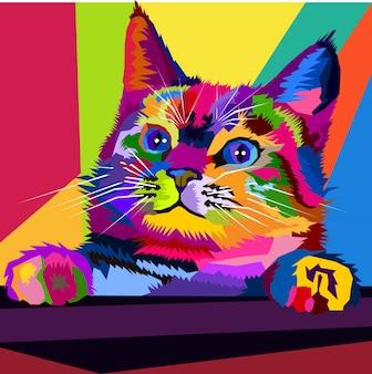 Colorful kitten pop art portrait