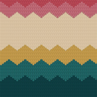 Colorful knitted seamless pattern background with simple shapes