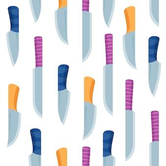 カラフルなナイフと短剣のシームレスなパターン。