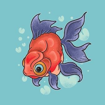 다채로운 koki 물고기 그런 지 스타일 일러스트 벡터