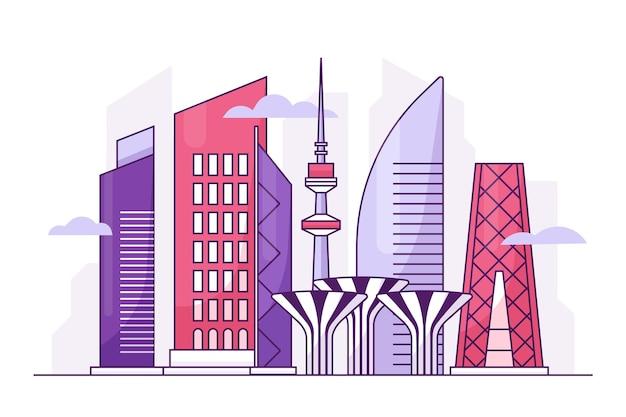 다채로운 쿠웨이트 스카이 라인 그림