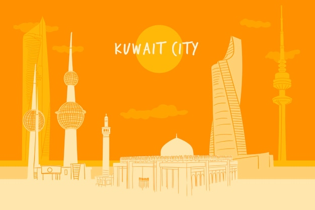 Illustrazione variopinta dell'orizzonte del kuwait