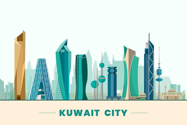 Colorful kuwait skyline illustration