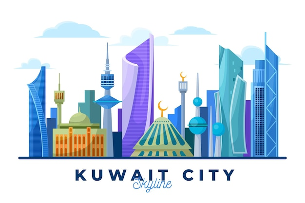 Colorful kuwait skyline