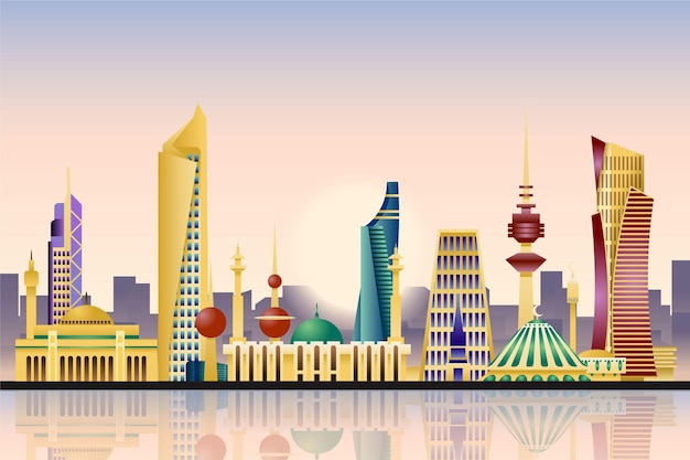 Colorful kuwait skyline