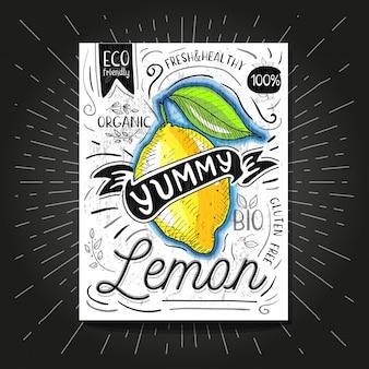 Красочный лейбл плакат наклейки еда фрукты овощной мел эскиз стиль, еда и специи.