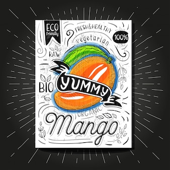 Colorful label poster stickers food fruits vegetable chalk sketch style, food and spices.
