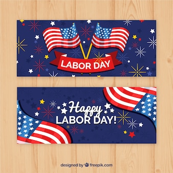 Colorful labor day banners with flat design