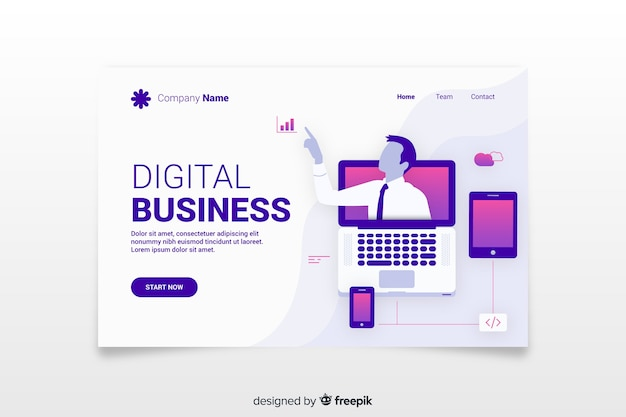 Colorful landing page illustrated