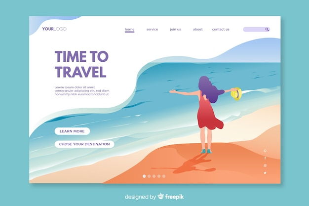 Colorful landing page for travelling enthusiasts