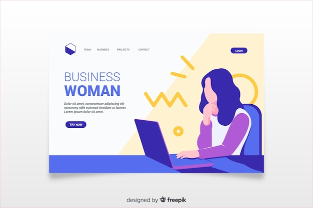 Colorful landing page with business woman illustration