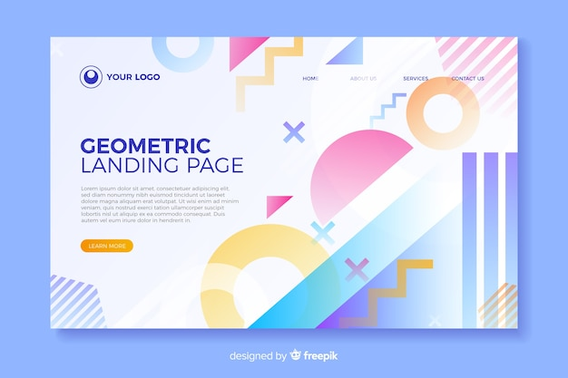 Colorful landing page with geometric elements