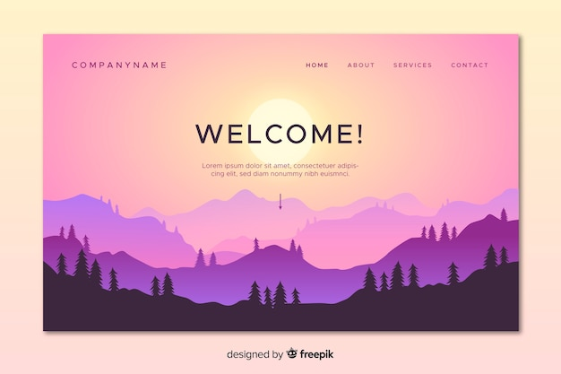 Colorful landing page with gradient landscape