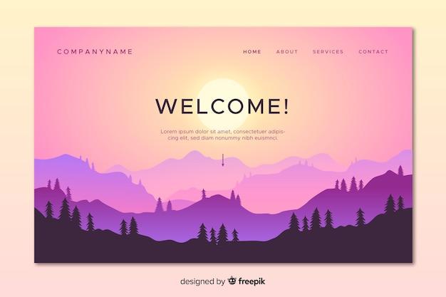 Красочная целевая страница с градиентным пейзажем
