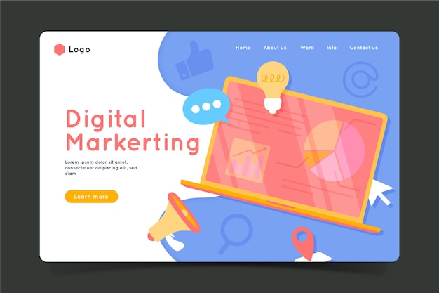 Colorful landing page with laptop