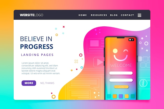 Colorful landing page with smartphone