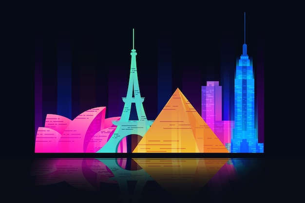 Colorful landmarks and buildings