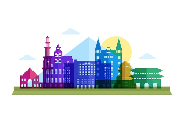 Colorful landmarks skyline buildings