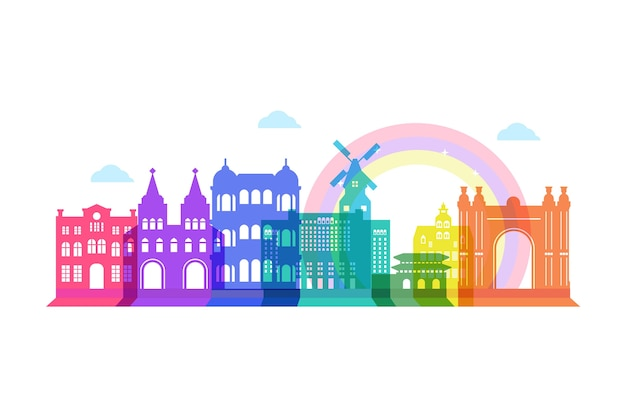Colorful landmarks skyline concept