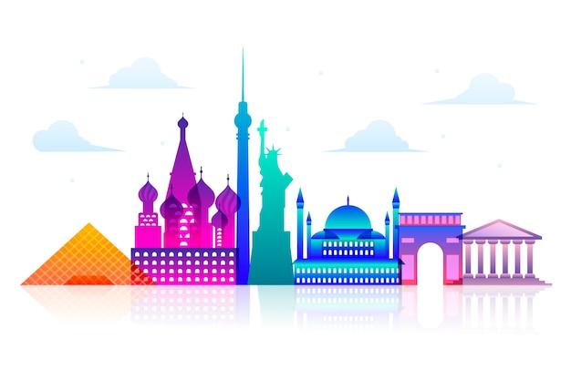 Colorful landmarks skyline concept