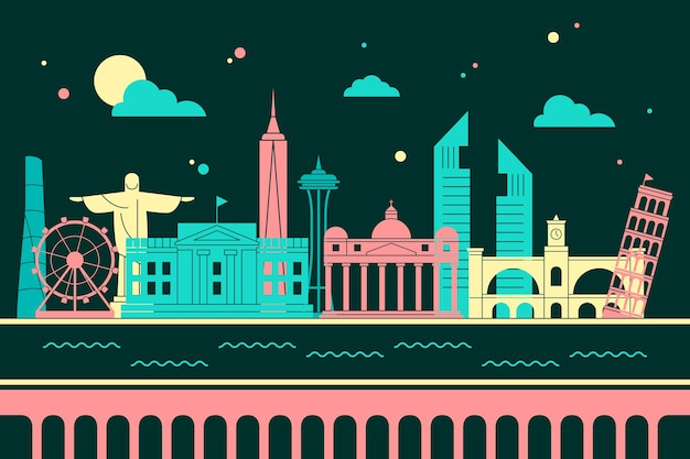 Colorful landmarks skyline design