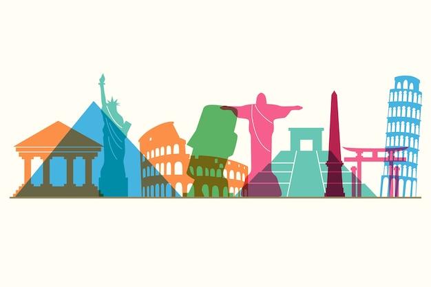Colorful landmarks skyline design
