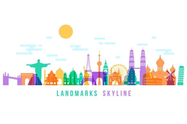 Colorful landmarks skyline for design