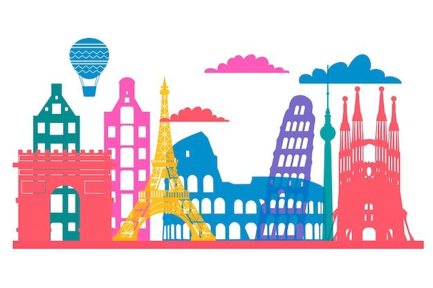 Colorful landmarks skyline graphic