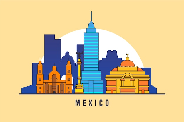 Colorful landmarks skyline for mexico