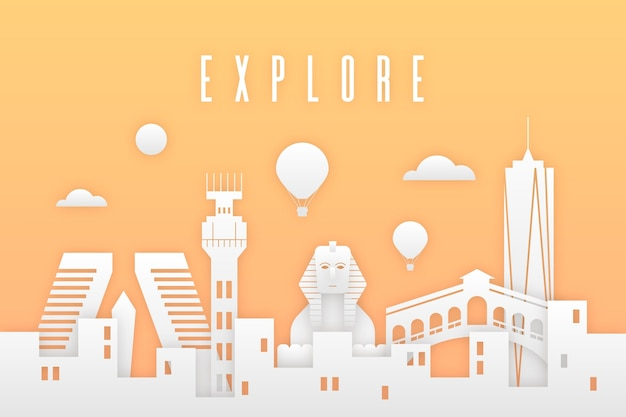 Colorful landmarks skyline in paper style concept