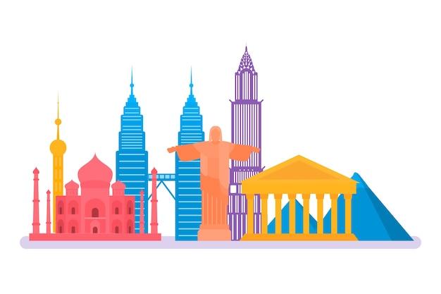 Colorful landmarks skyline style