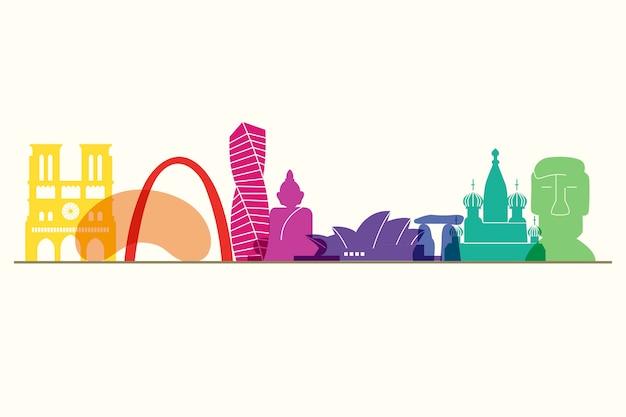 Colorful landmarks skyline theme
