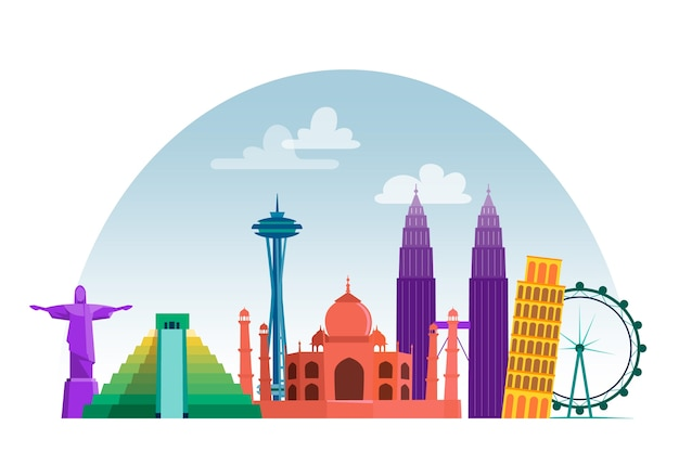 Colorful landmarks skyline theme