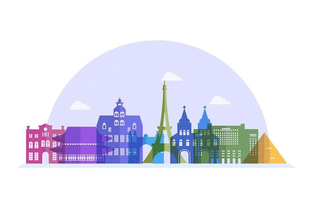 Colorful landmarks skyline tourism