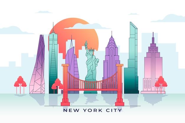 Skyline di monumenti colorati con strutture famose
