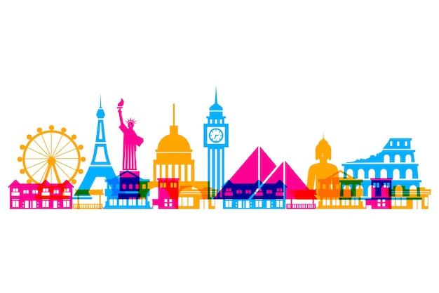 Colorful landmarks skyline worldwide