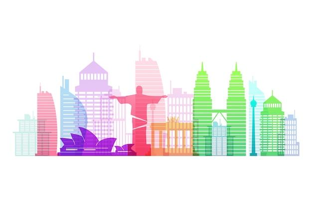 Colorful landmarks skyline