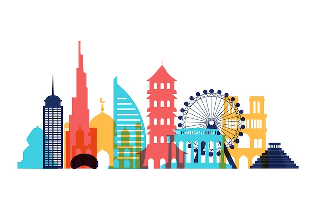 Colorful landmarks skyline