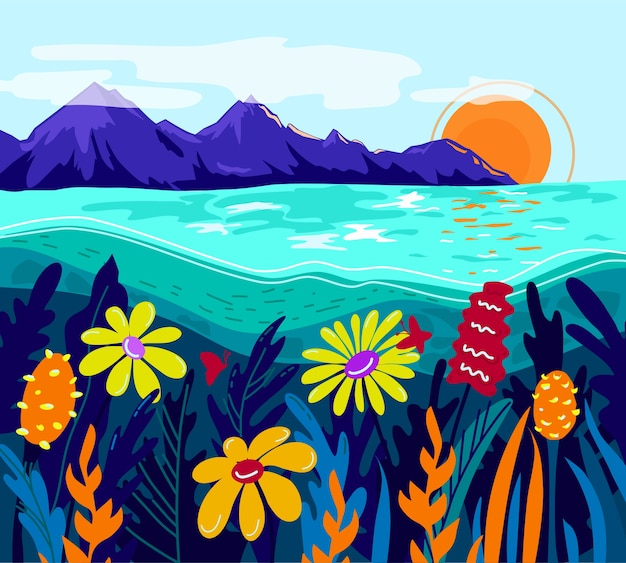 Красочный пейзаж горы море цветы лето