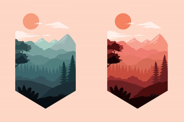 Colorful landscape silhouette illustration