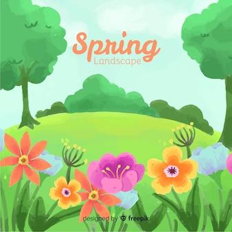 Colorful landscape spring background