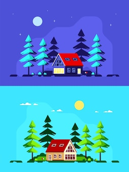 현대 국가 집과 소나무와 다채로운 풍경. 포레스트 하우스, 여름 하우스, 컨트리 라이프 스타일.