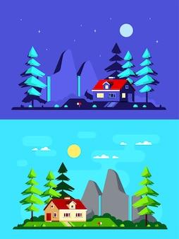 현대 국가 집, 소나무와 산 배경에 다채로운 풍경. 포레스트 하우스, 여름 하우스, 컨트리 라이프 스타일.
