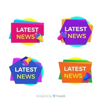 Colorful lastest news banner pack