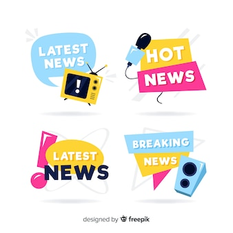 Colorful latest news banners collection